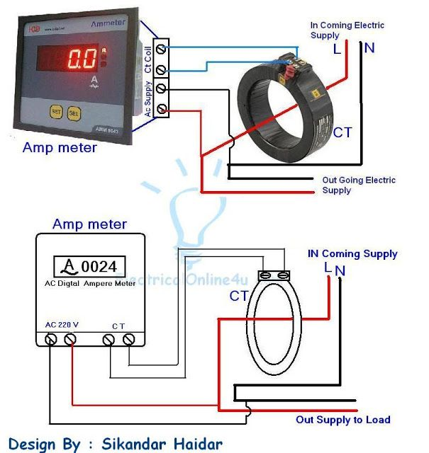 Digital Ammeter Wiring Diagram with Current Tramsformer in