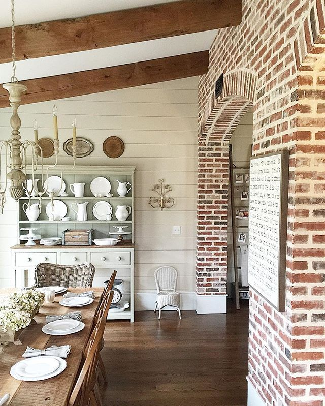 Create An Elegant Statement With A White Brick Wall. Farmhouse InteriorFarmhouse  ... Part 35