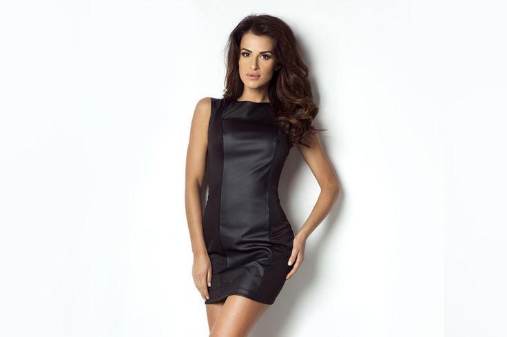 175-CZARNY Seksowna sukienka z panelem z eko skóry - ivon-sklep - Sukienki mini