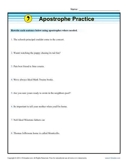 Apostrophe Practice With Images