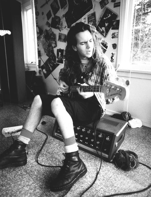 Pearl Jam's Eddie Vedder risking the ire of the bass player's union in the early 1990s grunge heyday