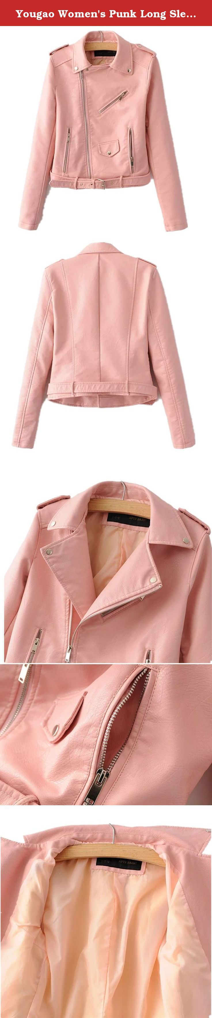 Yougao Women's Punk Long Sleeve PU Leather Coat Zip up Short Motocycle Jacket Pink M. Yougao Women's Punk Long Sleeve PU Leather Coat Zip up Short Motocycle Jacket Note: 1:Hand-made and Gorgeous design makes the coat appropriate for working, travel,daily life or other occasions. High quality PU gives you comfortable feeling! 2:The real color of the item may be slightly different from the pictures shown on website caused by many factors such as brightness of your monitor and light…