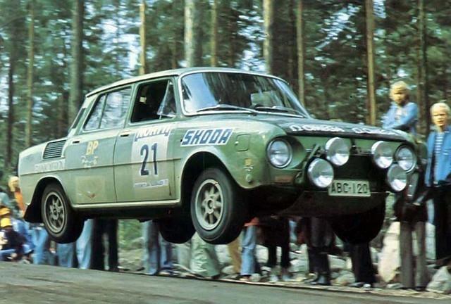 1973, 23rd 1000 Lakes Rally. Markku Saaristo-Ilkka Saaristo flying in their Škoda 120S.
