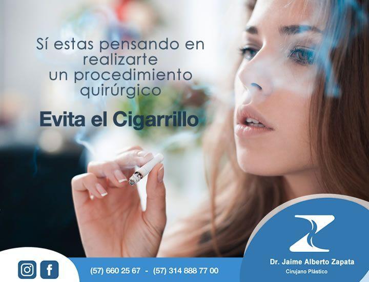 Si estas pensando en realizarte un procedimiento quirúrgico evita el cigarrillo varias semanas antes del procedimiento.  Cual es la razón?  Los fumadores presentan menor concentración de oxigeno en los glóbulos rojos y estrechez de los vasos sanguíneos lo cual dificulta la cicatrización.  CITAS: 57 2 660 25 67 ó 314 888 77 00.  Dr. Jaime Alberto Zapata - Cirujano Plástico  #cirugiaplastica #plasticsurgery #cirugiaestetica #estetica #calico #colombia #sccp #asaps #sbcp #filacp