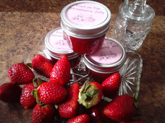 Fruit on Top Strawberry Jelly by sweetpeaspantry on Etsy, $4.00