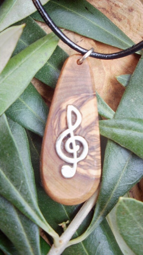 Musical Olive Wood necklace inlaid with Tibetan by ellenisworkshop, $31.00