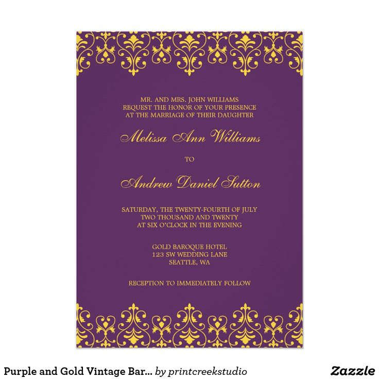 Purple and Gold Vintage Baroque Wedding Invitation