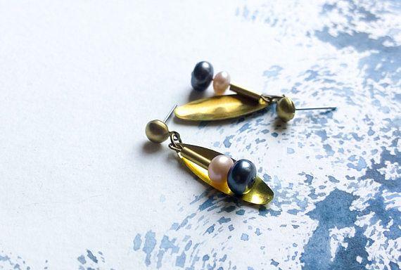 Freshwater Pearls and Brass Dangle Earrings Ariadne
