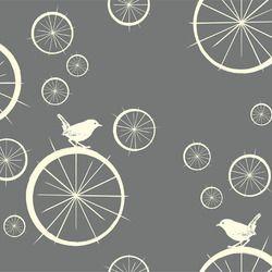 Avalon Birdie Spokes Grey Fabric www.funkyfabrix.com.au