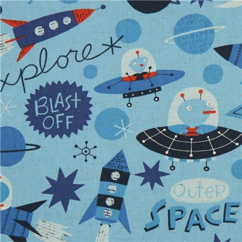 blue alien and outer space canvas Kokka fabric for boys