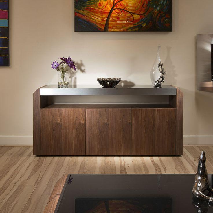Modern Walnut Sideboard/Cabinet/Buffet Black Glass Top 1.7mtr 701M New