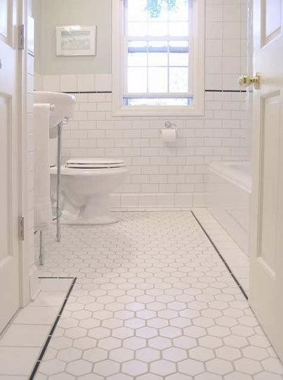 Advice for bathroom renovations from Stillwater Story. Love the subway & hexagon tiles. Not sure about all white but sure looks pristine (if you can keep it that clean)