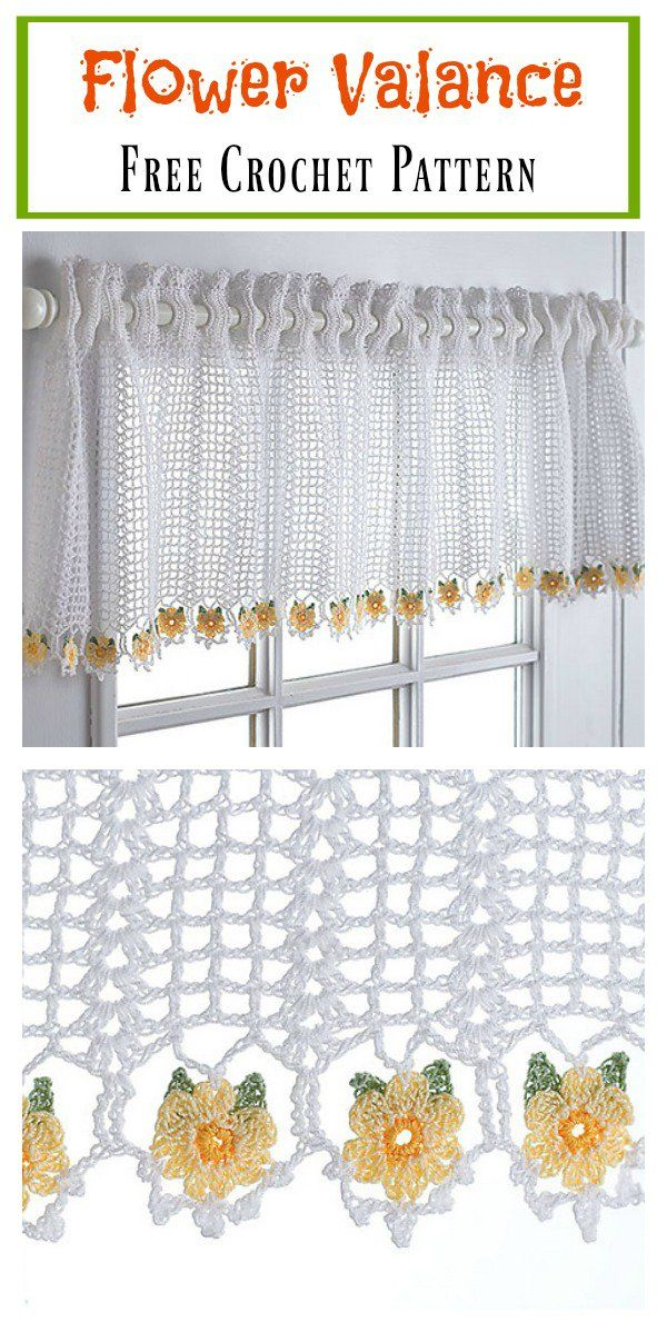 Flower Valance Window Curtain Free Crochet Pattern | Si | Pinterest ...