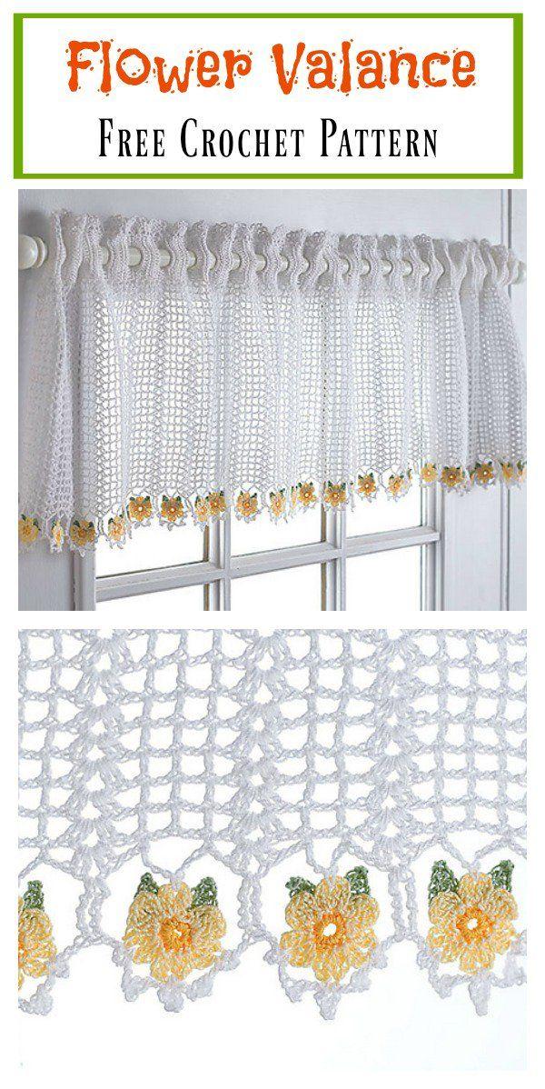 Flower Valance Window Curtain Free Crochet Pattern | Cenefa, Patrón ...