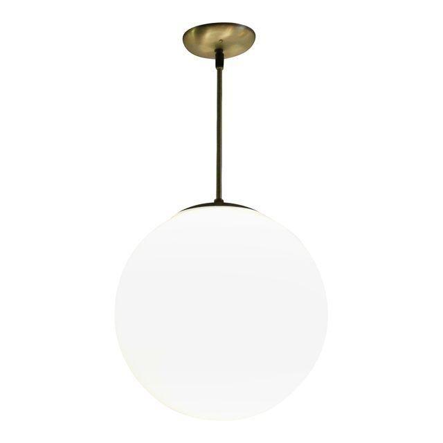image of vintage midcentury globe pendant light