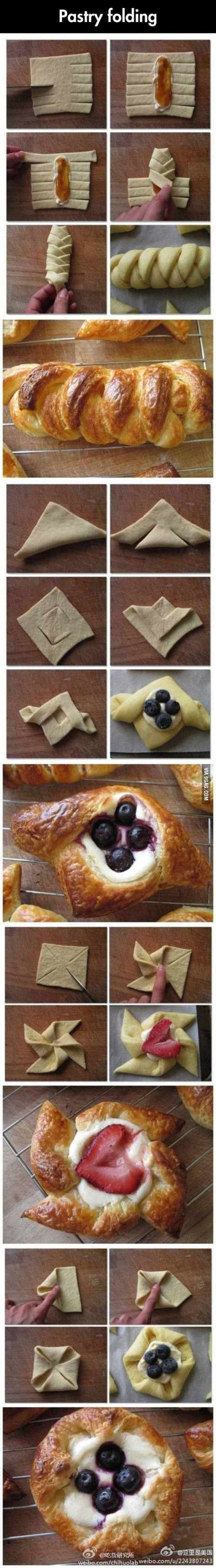 baking and different ways to fold pastries. Easy pastry and bread folding instructions.