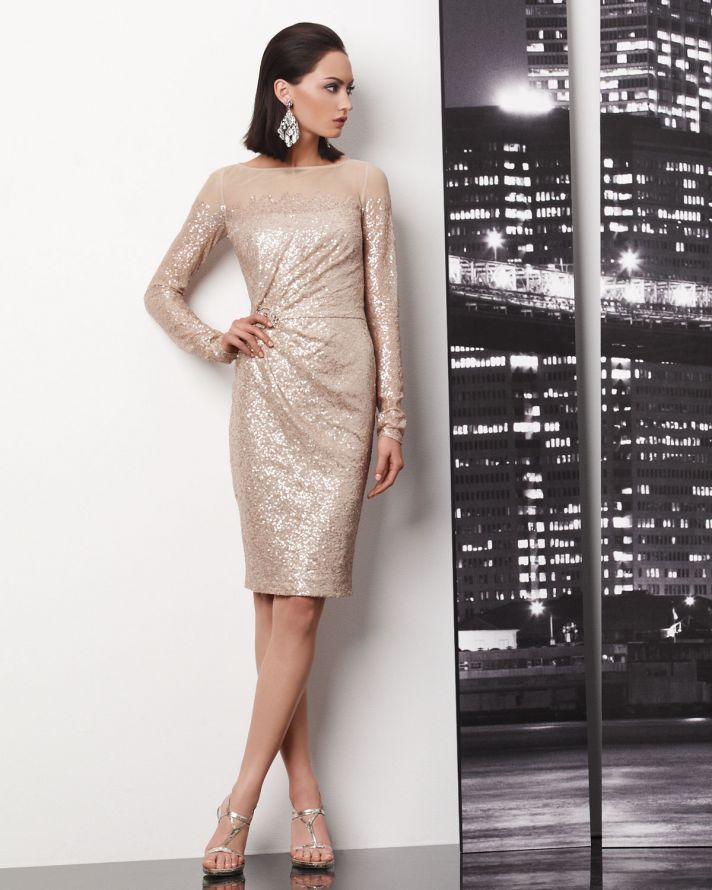 Champagne Sequin Wedding Guest Dress Reception Dress