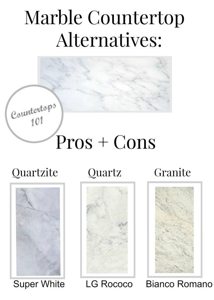 Marble Countertop Alternatives : Pros + Cons · Elizabeth Bixler Designs Blog - Material look-alikes for carrara marble for your countertops! quartz super white , quartzite LG Rococo, and Bianco Romano granite http://elizabethbixler.com/marble-countertop-alternatives-pros-cons/