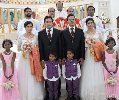 Two sets of twins, Dinker & Dilraj and Reena & Reema marry each other with identical twin bridesmaids and priests. Priests Rezi & Rozy Manaparambil officiated. A total of seven sets of twins participated in the ceremony.