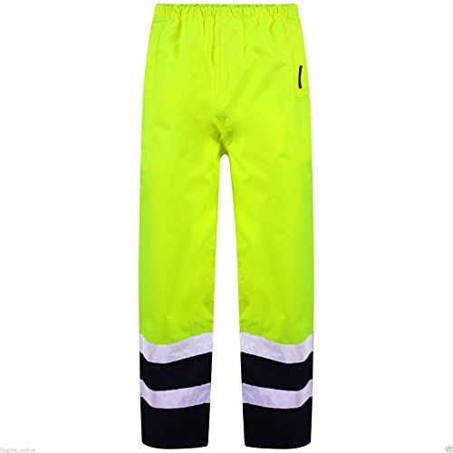From 8.82 Hi Vis Viz Visibility Work Wear Safety Over Trousers Waterproof Pants (xl 2tone - Yellow/navy)
