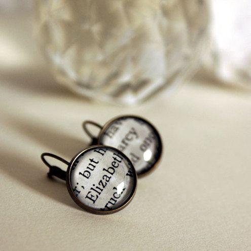 Jane Austen drop earrings: Worth Reading, Drop Earrings, Books Worth, Pride And Prejudice, Jane Austen, Jewelry, Book Earrings, Favorite Books And, Books And Movie