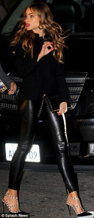No problem: Sofia walked confidently to the event despite her spindly stiletto heels and tight trousers