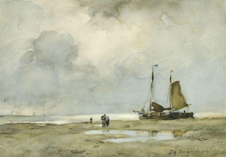 Strandgezicht, Johan Hendrik Weissenbruch, ca. 1895