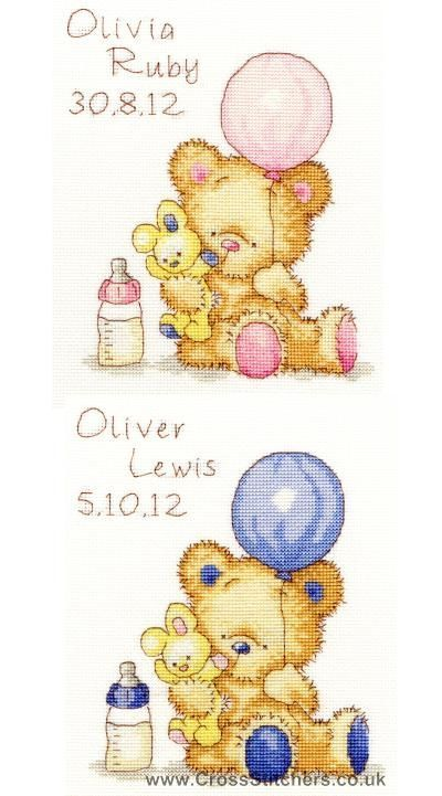 Make for the eldest - Balloon - Huggles The Bear Cross Stitch Birth Sampler Kit from Bothy Threads