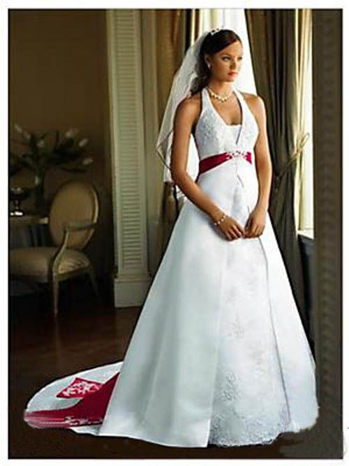 White Wedding Dress With Red Trim Christmas Wedding