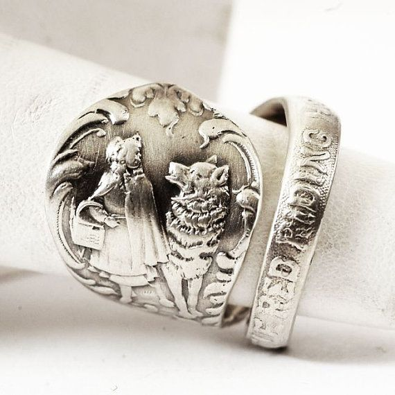 Cute Little Red Riding Hood Sterling Silver Spoon Ring by Spoonier