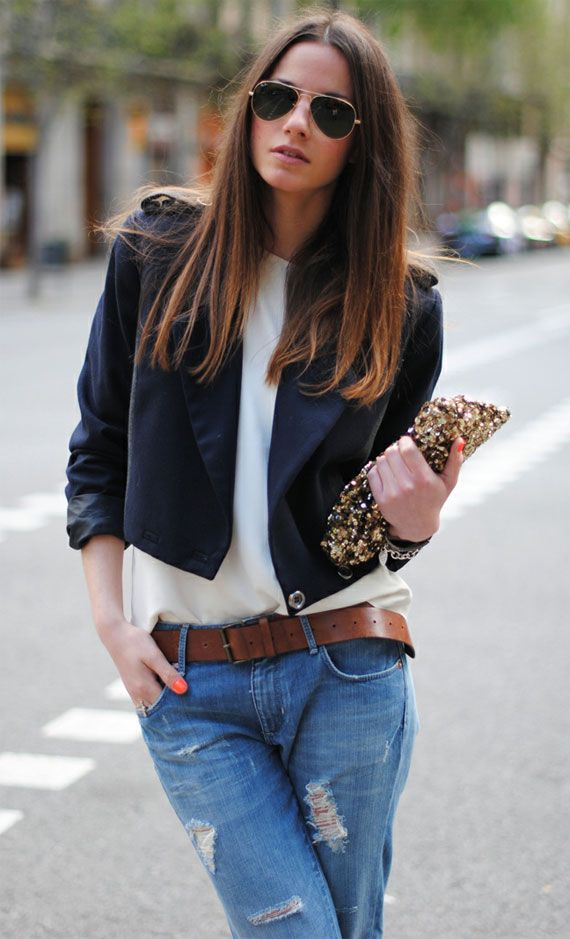 Garotas Estúpidas: A Mini-Saia Jeans, Casual Chic, Street Style, Black White, Boyfriends Jeans, Ray Ban, Fashion Looks, Fashion Styl, White Jeans