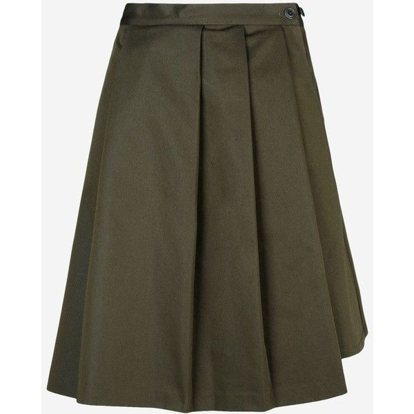 Y-3 Wren Skirt (1.385 VEF) ❤ liked on Polyvore featuring skirts, military green, pocket skirt, pleated mid length skirt, mid length skirts, olive green skirt and military fashion