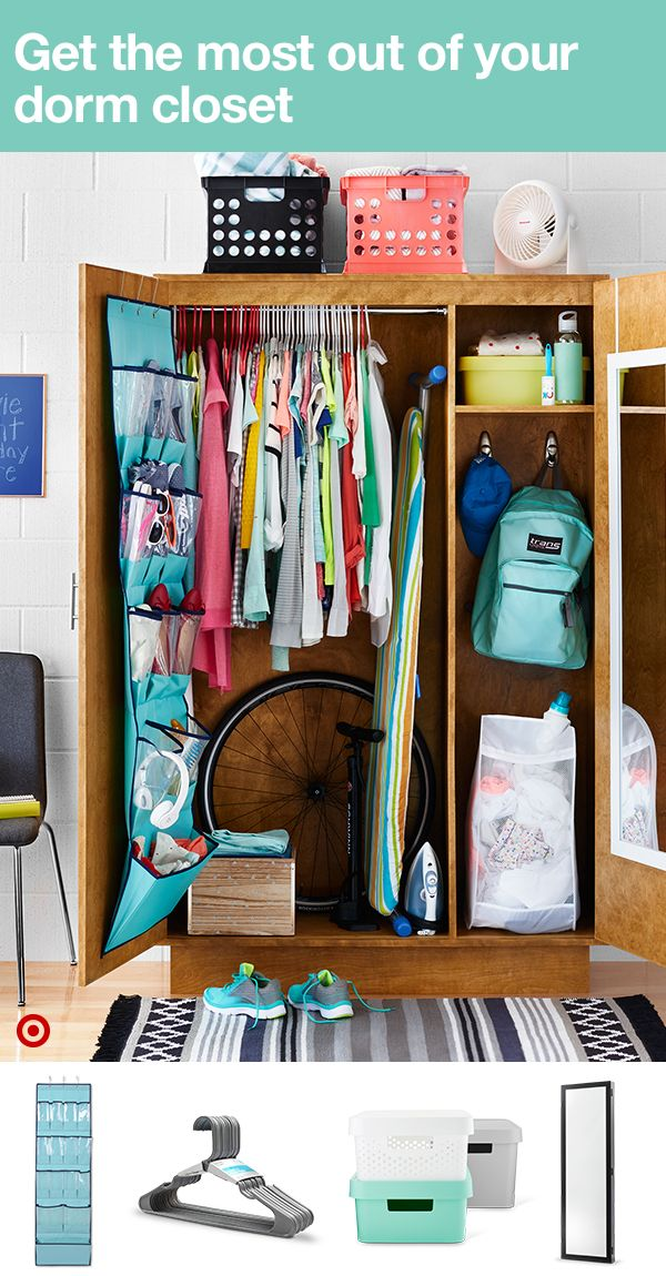 """That moment when your college closet for one has enough stuff for two? Make the most of it! Start with an adjustable hanging rod and plenty of hangers. Add an over-the-door mirror on the inside of one door and an over-the-door pocket storage on the other. Stash everything from beauty products to socks and underwear in stackable storage bins inside or above your closet. Go for a mesh laundry """"basket"""" that'll fit into small spaces and a folding ironing board, too. How's that for organization?"""
