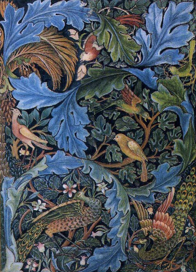 Tapestry design by William Morris. ARTS & CRAFTS was a late 19th century artistic movement led by WILLIAM MORRIS, which advocated a return to medieval standards of craftsmanship and simplicity of design.