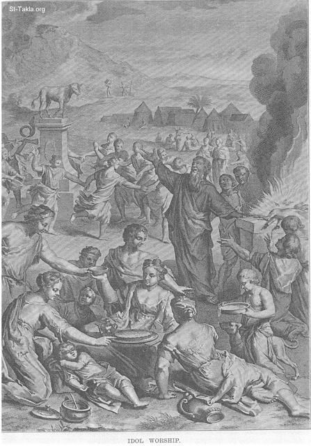Idol worship for the Golden Calf, at the times of Moses and Aaron with Israelis (Exodus 32)