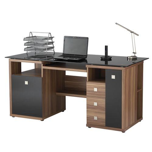Saratoga Black Glass Computer Desk | Walnut Home Office Workstation