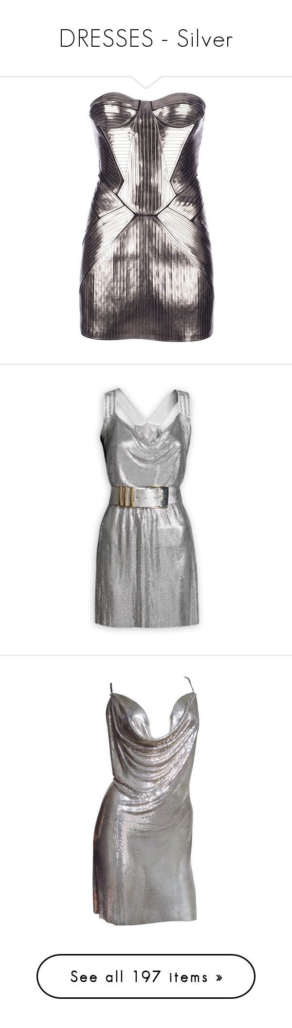 """DRESSES - Silver"" by lynesse ❤ liked on Polyvore featuring dresses, vestidos, short dresses, robes, strapless bustier dress, strapless bustier, mini dress, metallic mini dress, metallic short dress and versace"