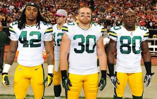 Aaron Rodgers Photobomb 2012 Week 6: @ Houston Texans  Left to right: Morgan Burnett, John Kuhn, Donald Driver