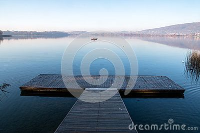 Pier on the lake of Pusiano in nothern Italy