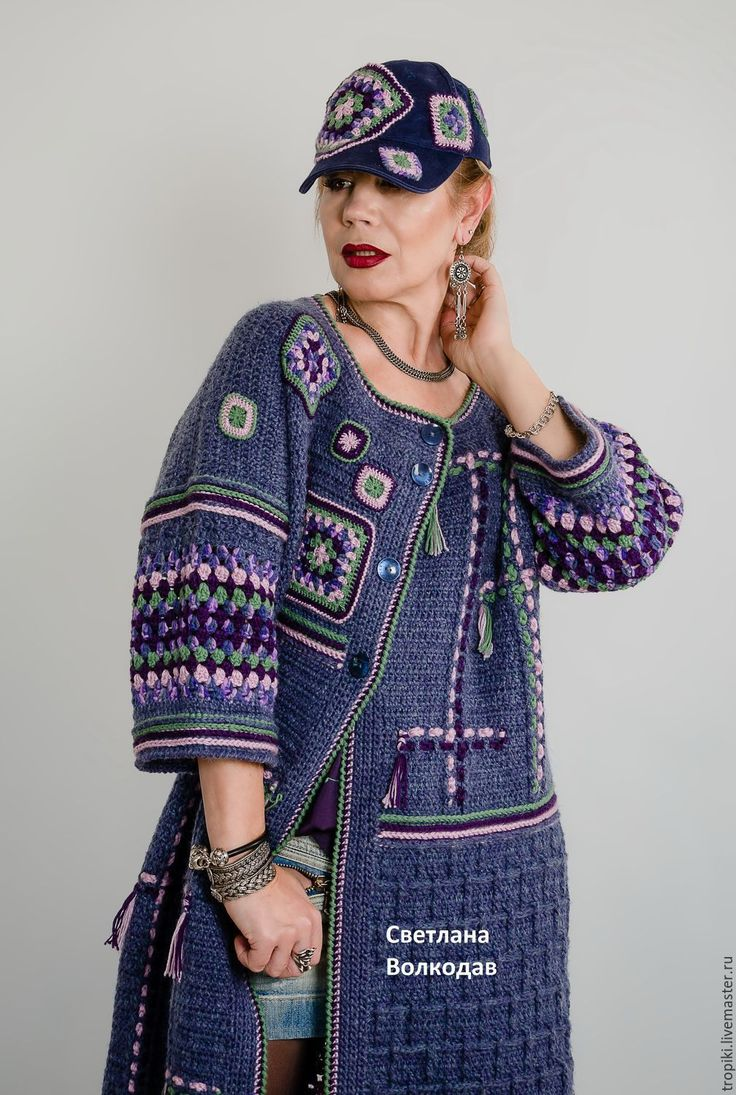 """Купить Пальто вязаное авторское """"Звездное небо"""" - тёмно-синий, джинсовый, пальто женское"""