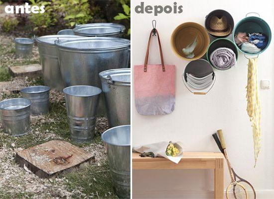 Como fazer nichos com baldes velhos