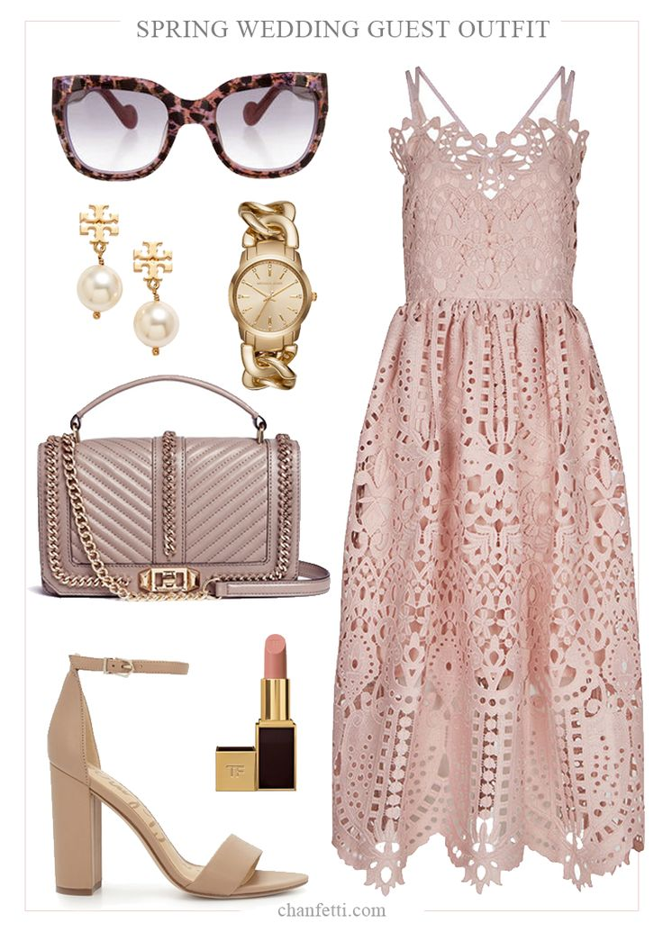 Pink Lace Dress - Spring Wedding Guest Outfit -  Tory Burch and Rebecca Minkoff -- Chanfetti