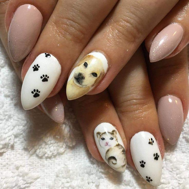 nude nails, cat & dog, art