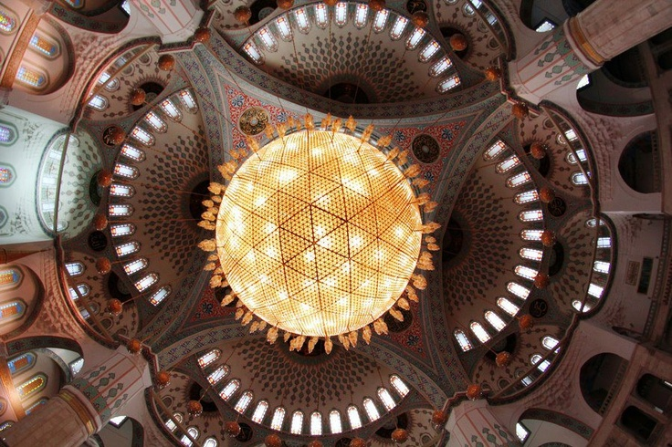 Dome with chandelier perpective of Kocatepe Mosque, Ankara. The chandelier is a representaion of Solar system, biggest one is the sun which is encircled by other planets ( but small lusters are not turned on).