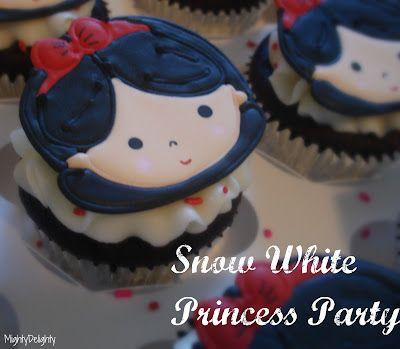 Snow white princess party cupcakes    http://mightydelighty.blogspot.com/2012/05/snow-white-princess-party.html