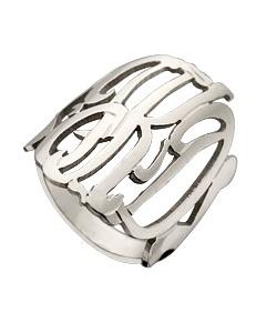 Monogram ring.Silver Monograms, Monograms Things, West Avenue, Avenue Jewelry, Monogram Rings, Cut Out, Jewelry Scripts, Scripts Monograms, Monograms Rings