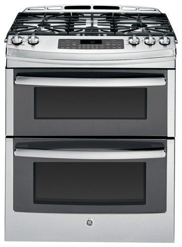 """GE - Profile Series 30"""" Self-Cleaning Slide-In Double Oven Gas Convection Range - Stainless Steel - Larger Front"""