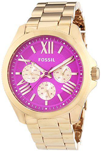 Fossil Cecile - Reloj de cuarzo para mujer, correa de acero inoxidable color oro…