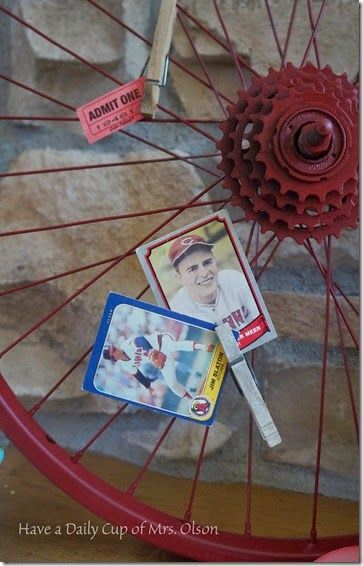 Vintage Bike Wheel to Display Baseball Cards and Tickets
