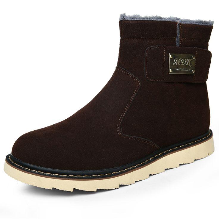 Winter Men Snow Boots Suede Warm Men Winter Boots Slip On Black Brown Yellow